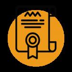 Nom d'entreprise et discours d'entreprise icône d'un certificat