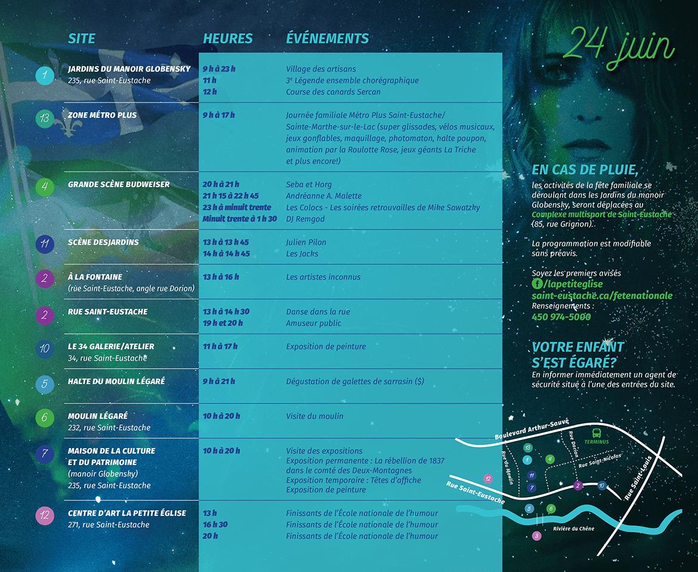 Intérieur droit du programme de la Fête Nationale Régionale du Québec 2018 à Saint-Eustache