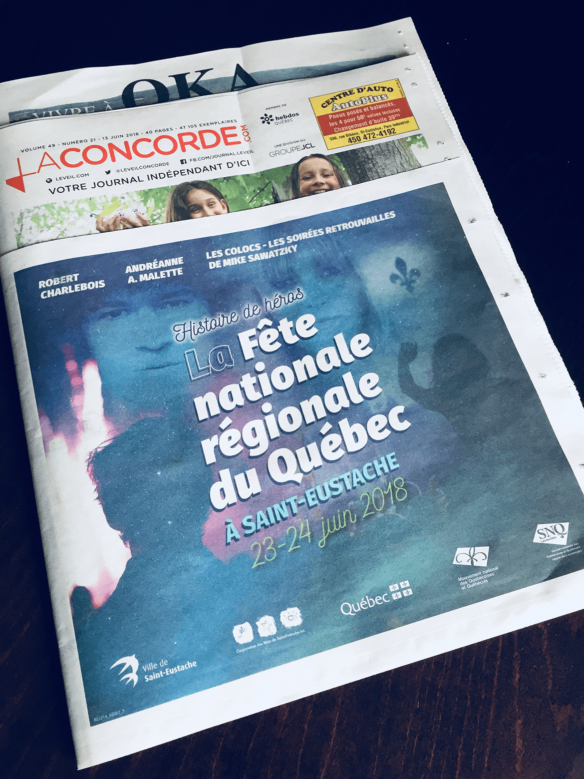 Programme de la Fête Nationale Régionale du Québec 2018 à Saint-Eustache dans le Journal La Concorde